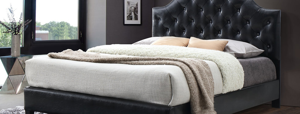 Black Leather Queen Bed, Tufted Headboard