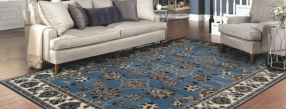 Traditional Distressed Rugs Persian Blue Rug