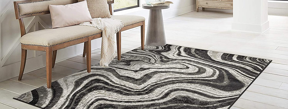 Modern Area Rugs Black & White Water Marble