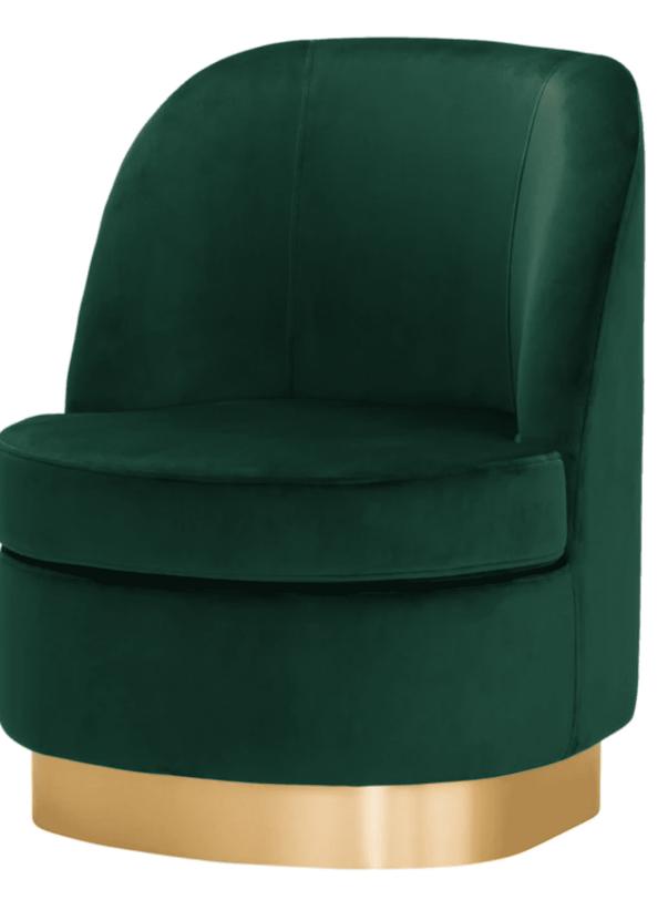 Samt Sessel in petrol grün mit goldenem Fuß