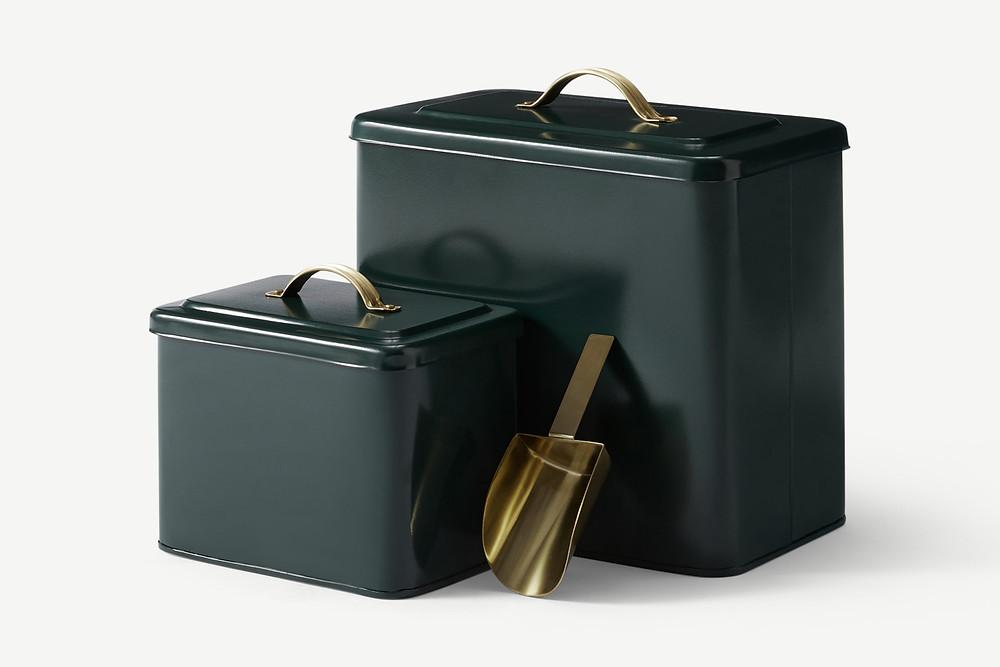 Tierfutterdosen mt Schaufel in petrolgrün und gold