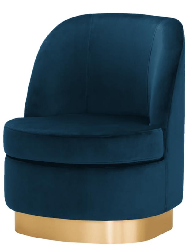 Samt Sessel in blau mit goldenem Fuß