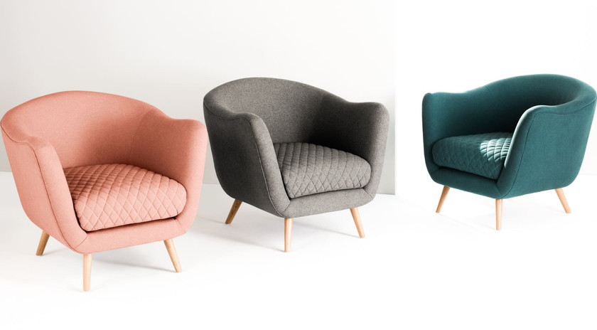 Lounge Sessel Flick von MADE in rosa, Skandi-Design