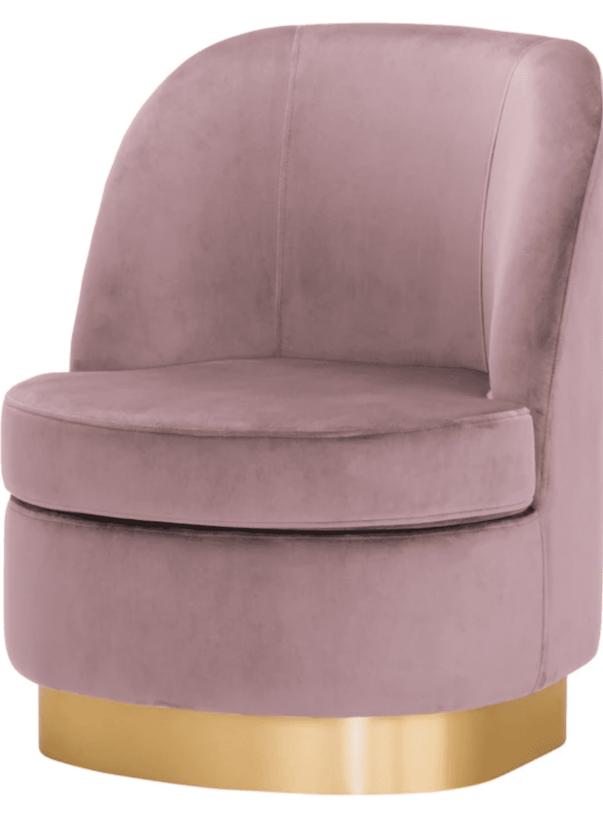Samt Sessel in rosa mit goldenem Fuß
