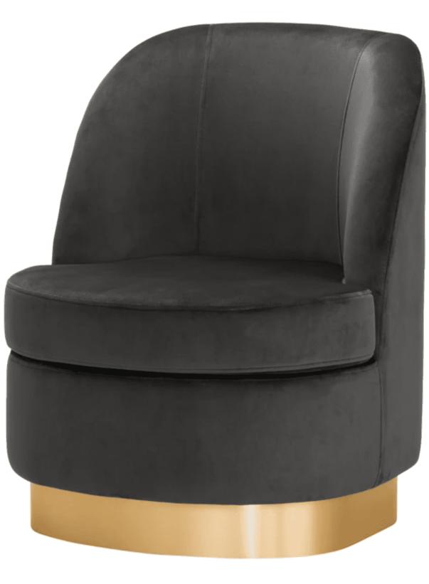 Samt Sessel in grau mit goldenem Fuß