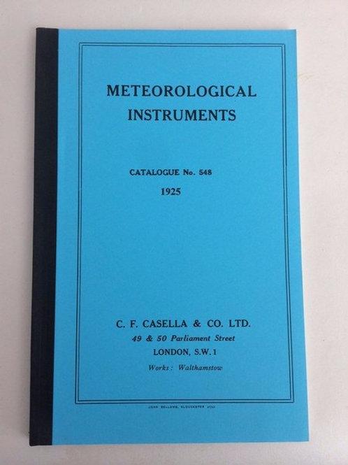 Casella Meteorological Instruments Catalogue 1925 – Facsimile c. 1925 England
