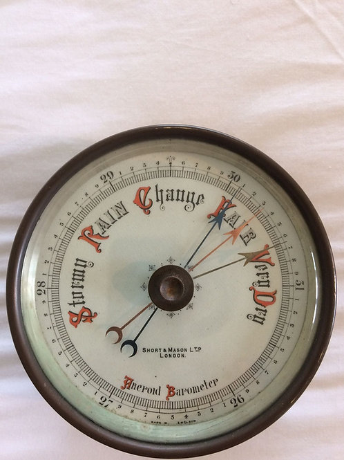Rare Double Handed barometer by Short & Mason (c. 1925, England)