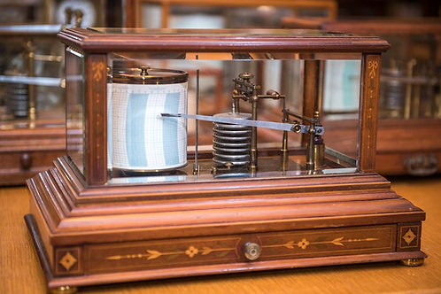 Extremely attractive barograph in a walnut case with a lovely inlaid veneer