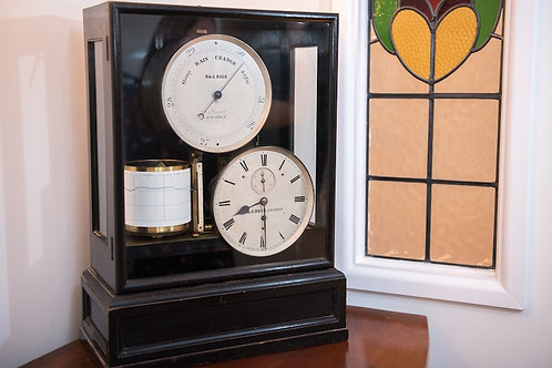 LARGE COMBINATION BAROGRAPH, CLOCK & BAROMETER by R&J BECK CORNHILL, LONDON