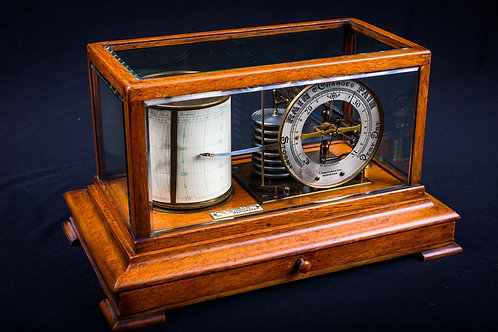 Edwardian Polished Oak Barograph, Thomas Armstrong & Brother, Manchester