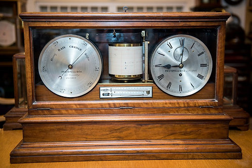 LARGE VICTORIAN COMBINATION BAROGRAPH, CLOCK & BAROMETER by PASTORELLI & Co, LON