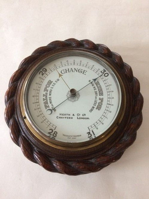 Large Oak Ropetwist Aneroid Barometer by Heath of Crayford c. 1912 England