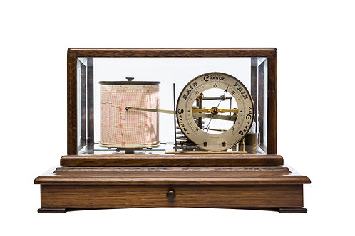 Early Edwardian Barograph with dial in mid oak bevelled glass case