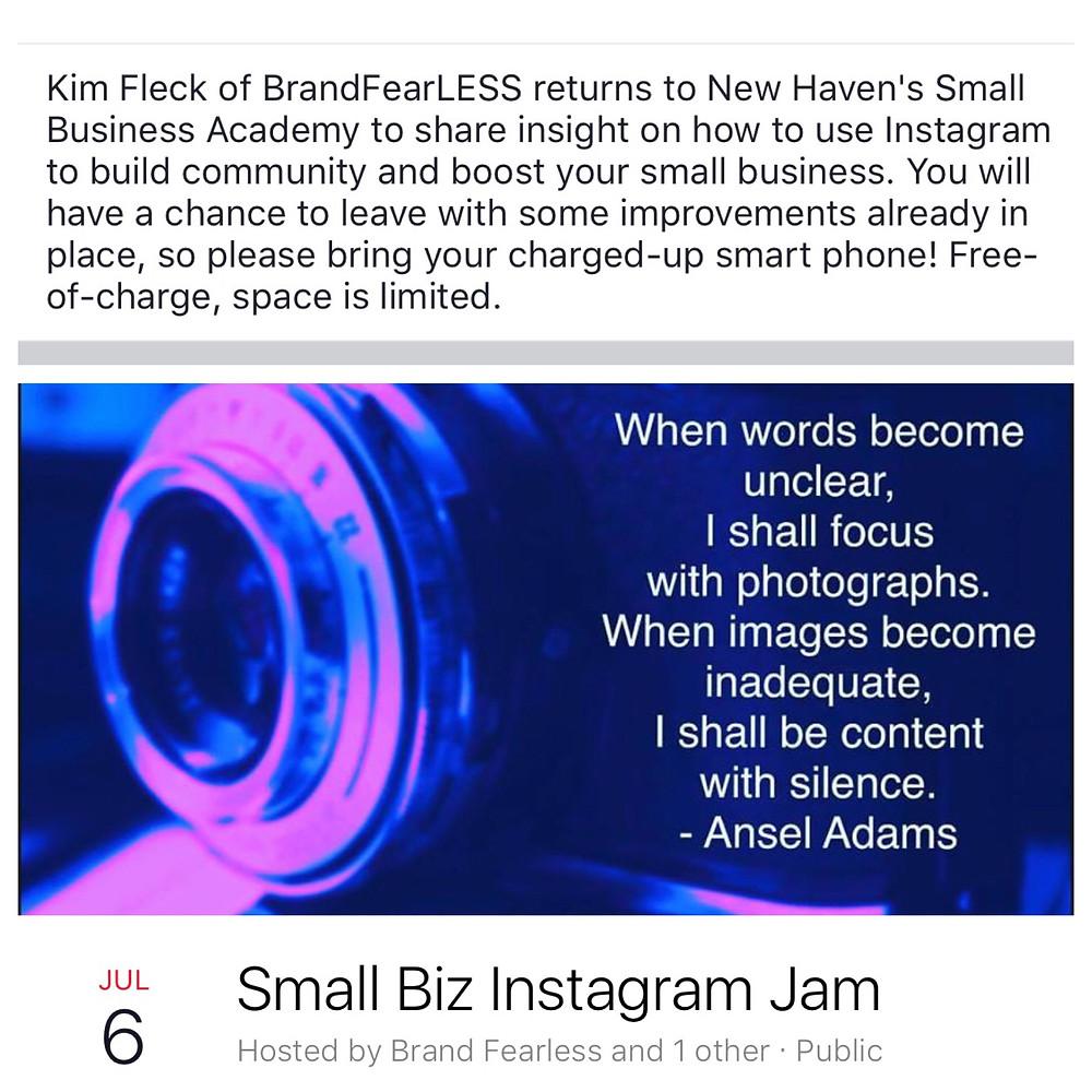 Small Biz Instagram Jam Event