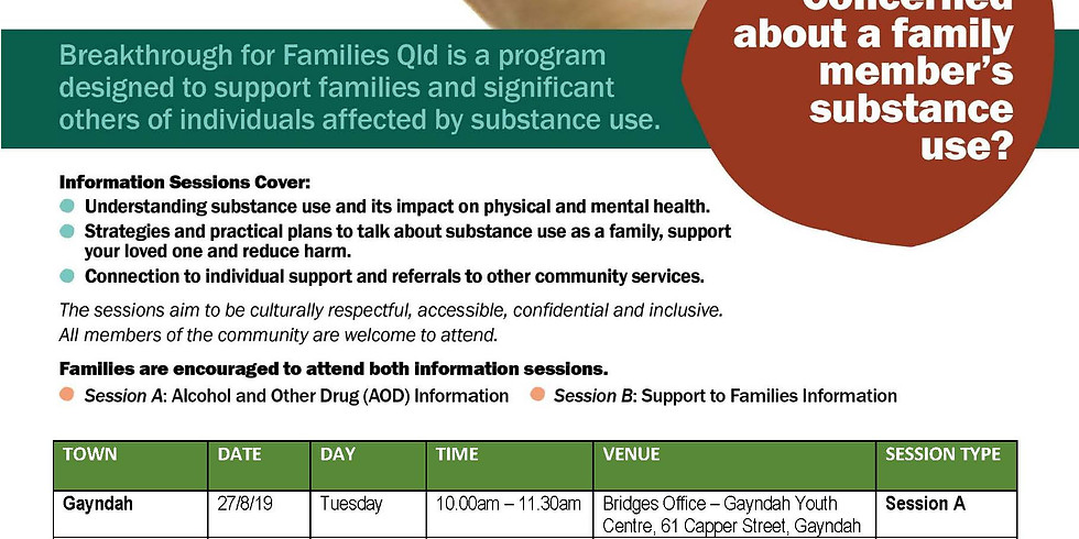 Free Alcohol & Other Drugs Information Sessions