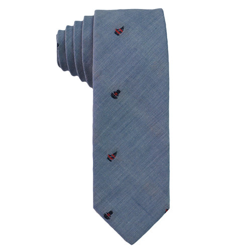 Hand Made Narrow Cut Tie Blue Boat