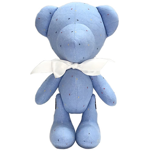 Hand Made Light Blue Quilted Teddy Bear - Size L