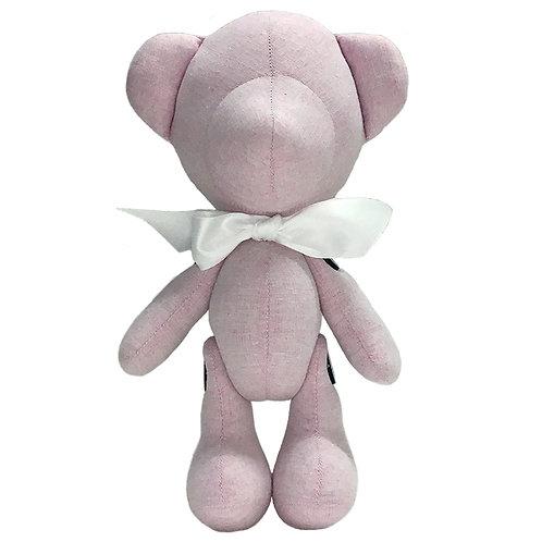 Hand Made Pink Linen Teddy Bear - Size L