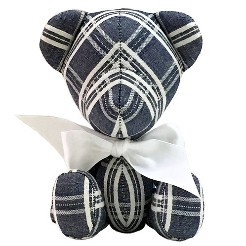 Hand Made Embroidered Check Denim Teddy Bear - Size S