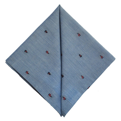 Hand Made Pocket Square Blue Boat