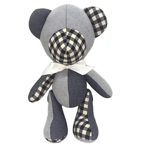 Hand Made Mixed Denim,Check,Stripe Teddy Bear Size -XL
