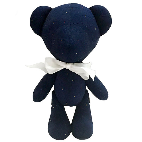 Hand Made Dark Blue Quilted Teddy Bear - Size L