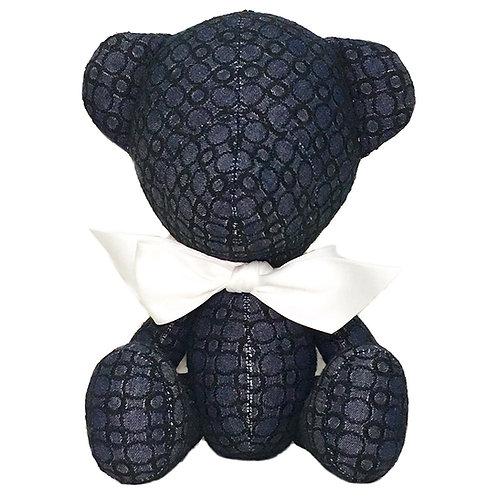 Hand Made Black Embroided Denim Teddy Bear - Size S