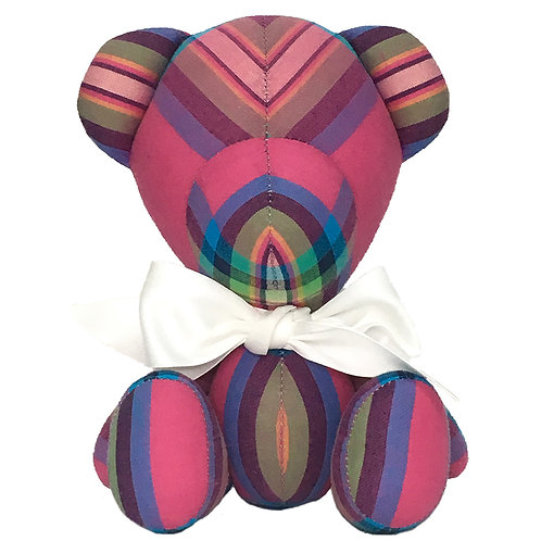 Hand Made Pink Stripe Teddy Bear - Size S
