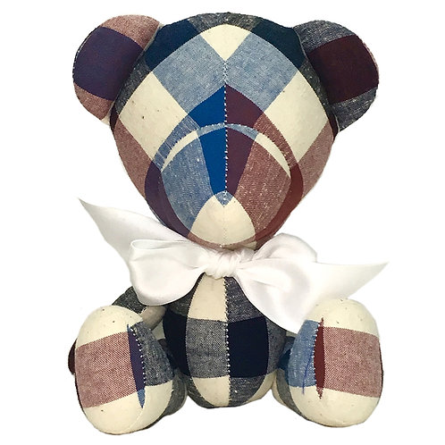 Hand Made Red Check Teddy Bear - Size S