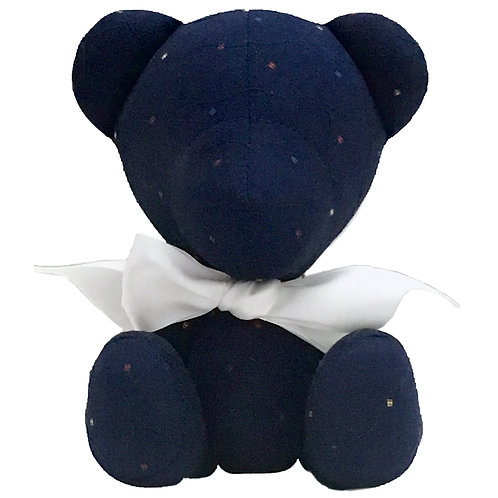 Hand Made Dark Blue Quilted Teddy Bear - Size S