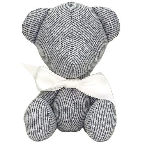 Hand Made Deep Grey Stripe Teddy Bear - Size S