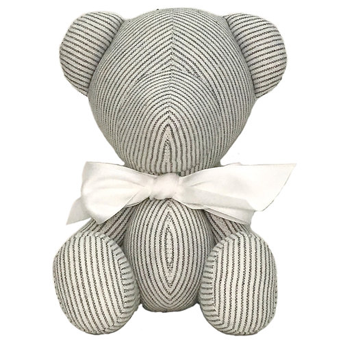 Hand Made Grey Stripe Teddy Bear - Size S