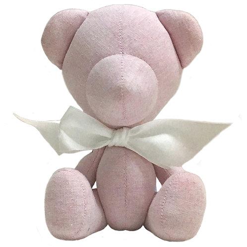 Hand Made Pink Linen Teddy Bear - Size S