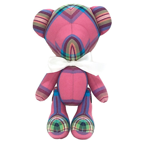 Hand Made Pink Stripe Teddy Bear - Size L