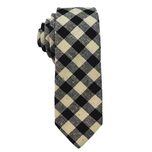 Hand Made Narrow Cut Tie Black Check