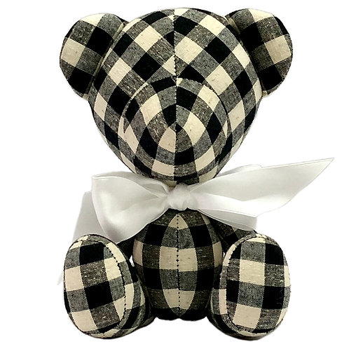 Hand Made Black/White Check Teddy Bear - Size S