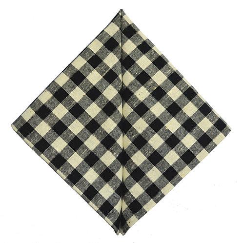 Hand Made Pocket Square Black Check