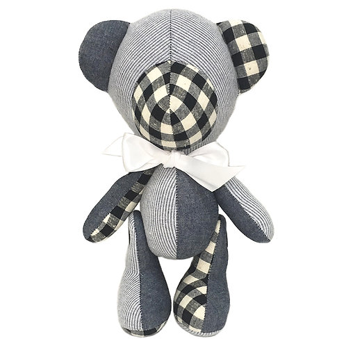 Hand Made Mixed Check/Stripe Teddy Bear - Size L