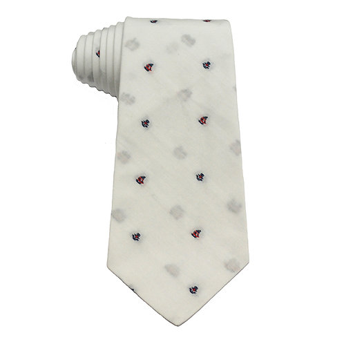 Hand Made 8/5 Fold Regular Cut Tie White Boat