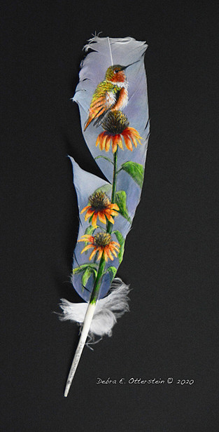 Hummer with Cone Flowers -SOLD  $ 250 - SOLD