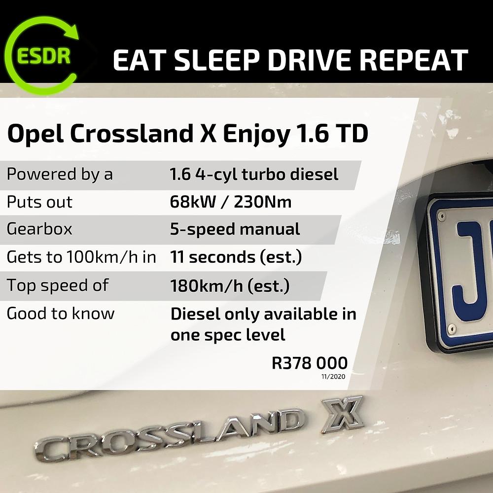Opel Crossland X 1.6 TD price and spec