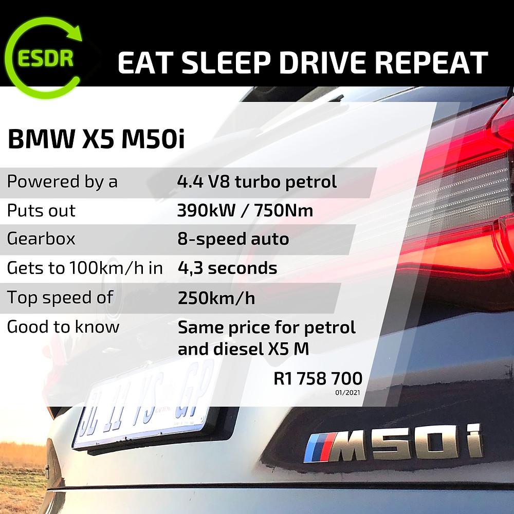 BMW X5 M50i spec and price