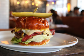 Special: Q Train Burger at 5 Napkin Burger