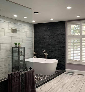beautiful modern bathroom with a stand alone tub