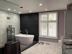beautiful modern bathroom with a stand alone tub