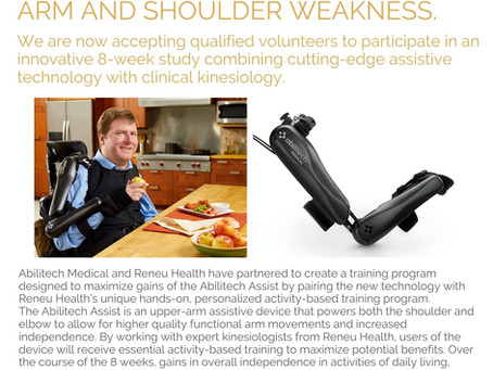 THE ABILITECH ASSIST + RENEU HEALTH TRIAL STUDY - Targeting arm and shoulder weakness.