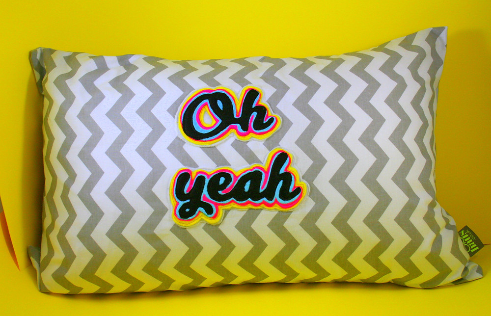 Oh yeah applique cushion £20