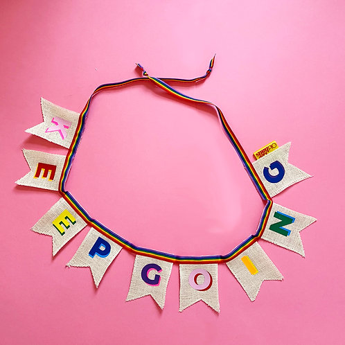 KEEP GOING Motivational desk bunting/garland for friends and family. Colourful a