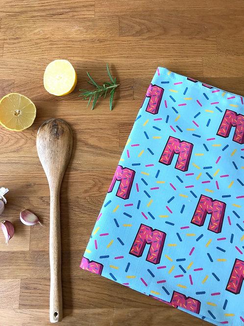 Blue Tea Towel Dish Cloth 80's Retro Print
