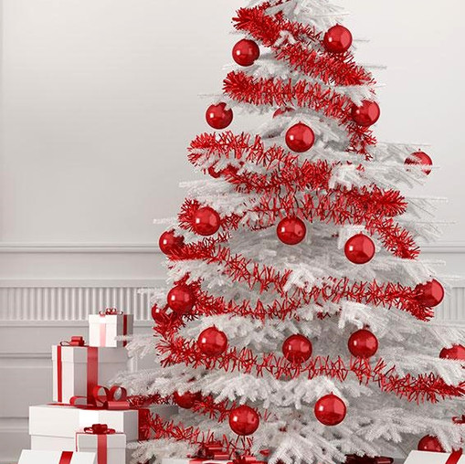 Red and White Theme on a white tree